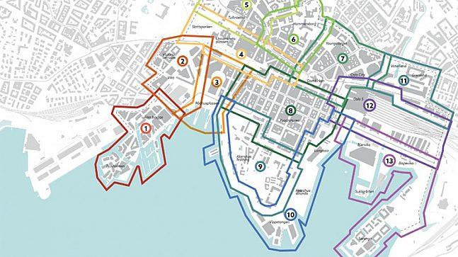 Handlingsprogrammet for økt byliv gjelder for Oslo sentrum, nærmere bestemt 13 delområder (Illustrasjon: Rodeo og LalaTøyen for Plan- og bygningsetaten).