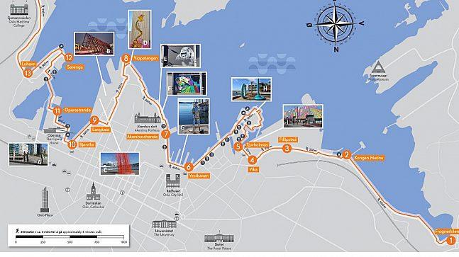 Her er noen av kunstverkene langs Havnepromenaden plassert på kartet.