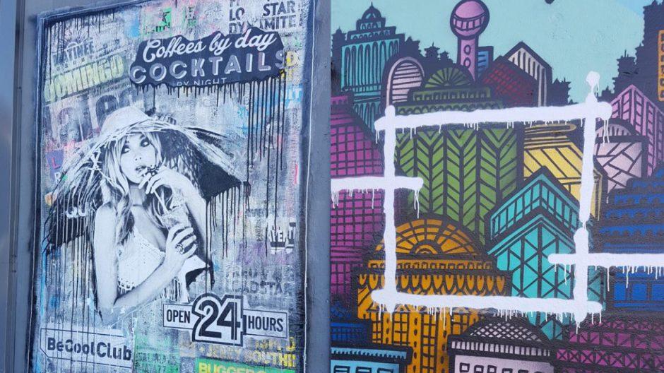 """Til venstre er den urbane kollasjen """"Be Cool Club"""" på skur 34 av Hilde Bugge, også kalt Fru Bugge"""