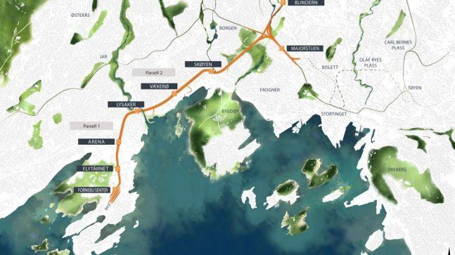 Trasékart som viser regulert strekning for Fornebubanen. Den såkalte Volvatsvingen er regulert, men ikke vedtatt bygget i Oslo. Strekningen i Bærum er vedtatt.