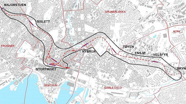 Kart over planområdet for anbefalt trasé for ny T-banetunnel (Kartillustrasjon: Ruter).