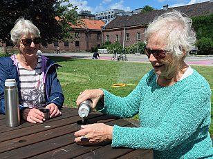Venninnene Else Svenkerud og Turid Borbe oppdaget det vakre gårdsrommet til Myntgata 2 ved en tilfeldighet og koste seg med matpakke og termos.