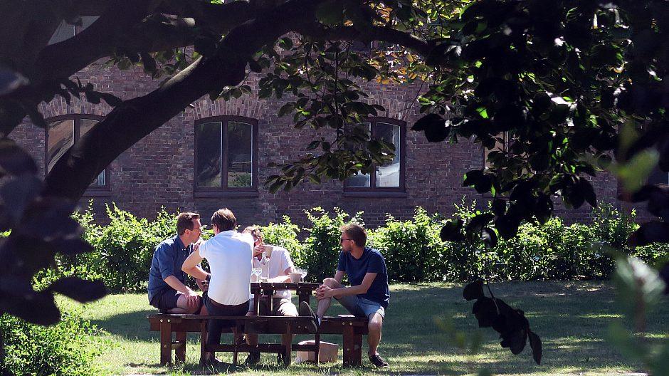 Det vakre gårdsrommet er en grønn oase hvor Oslo-folk og andre besøkende kan slå seg ned og spise lunsj, eller bare nyte omgivelsene.
