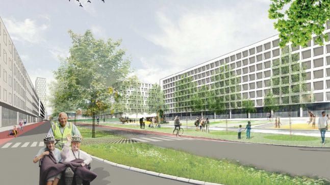 Framtidig parkområde langs Haraldrudveien, sett fra sør. Ny bebyggelse på Haraldrudveien 18 og 24 i 8 etasjer, på vestsiden av Haraldrudveien i 5 etasjer.
