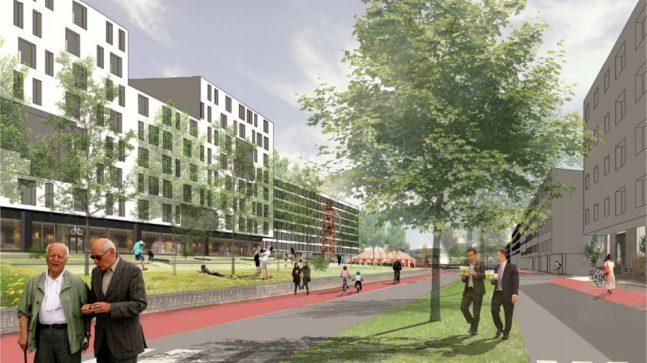 Framtidig parkområde langs Haraldrudveien, sett fra sør. Haraldrudveien 18 nærmest til venstre.