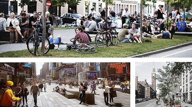"""Referansebilder for """"Fra Middelalder til Manhattan"""", 1. Sønder Boulevard, København, 2. Times Square, New York, 3. Vester Voldgade, København."""