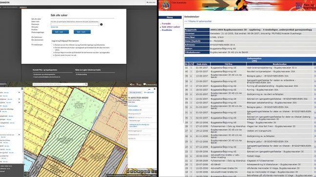 Illustrasjon/montasje fra Saksinnsyn og Planinnsyn før og nå.