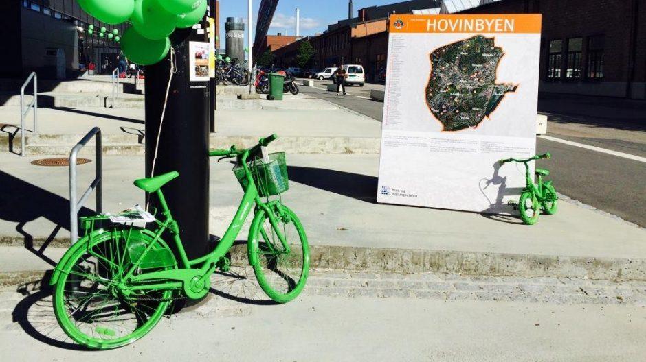 Grønn sykkel Kabelgata Hovinbyen