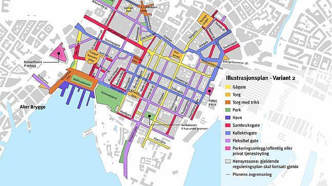 Slik foreslår Plan- og bygningsetaten reguleringen i planforslagets variant 2