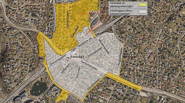Planområde med utvidelse