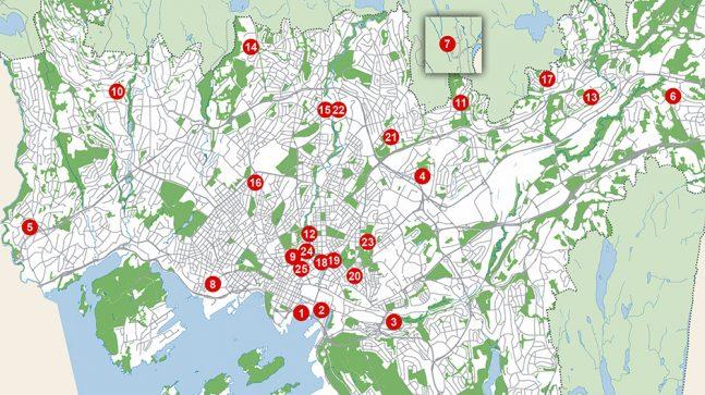 Oslo bys arkitekturpris 2019 Kart med alle kandidater 940x528