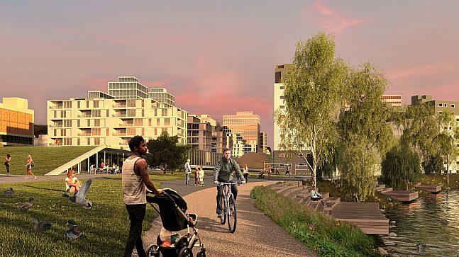 Parken i Blinderndraget med turvei langs elven, nyetablert dam, aktivitetsanlegg og paviljong. I bakgrunnen sees den nye bebyggelsen og Majorstustrøket mellom Nye Major og Chateau Neuf