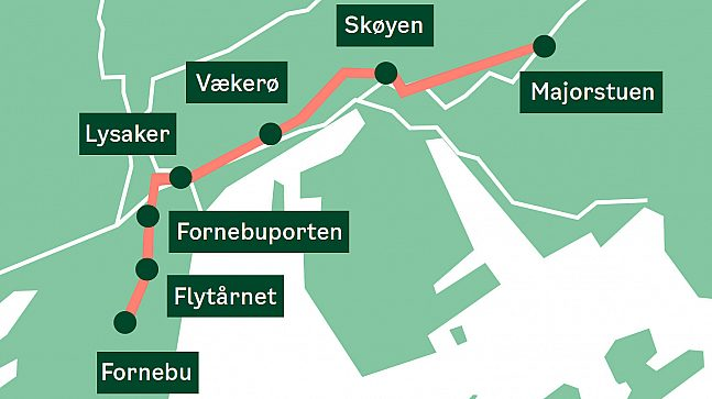 Kart trasé Fornebubanen