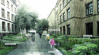 Figur 6 Illustrasjonsbilde av Deichmanns gate med blågrønne løsninger