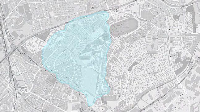Her ser du området som får nytte av overvannshåndteringen i planforslaget, fra Trondheimsveien til Risløkka.