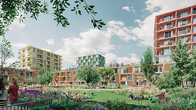 Bakgårdene i boligområdet er omringet av lav bebyggelse for å skape et intimt og hyggelig fellesareal. Dette vil være spesielt ideelt for barnefamilier, tror EBY