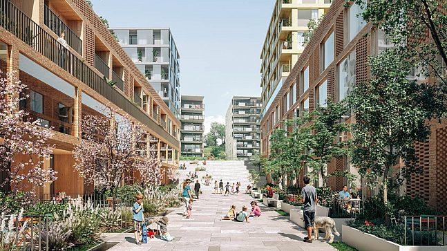Elever som bor på nye Økern torg vil få en bilfri skolevei gjennom parkområdet. Det er sjelden vare i sentralt i Oslo.