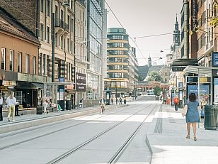 Storgata holdeplass er én av to nye og plassert nærmere Jernbanetorget.