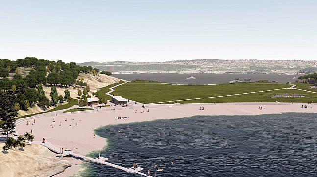 Den nye stranden er noe større enn den tidligere og kan by på en ny HC-rampe med badebinge, men ikke før til badesesongen 2022. Dobbel volleyballbane til høyre i bildet