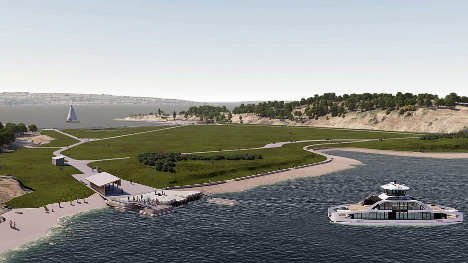 De elektriske fergene til Ruter lanseres i 2022 og den nye kaien på Langøyene er tilpasset til å kunne ta de imot. Flytebryggen skal brukes av øyforvalter Bymiljøetaten.