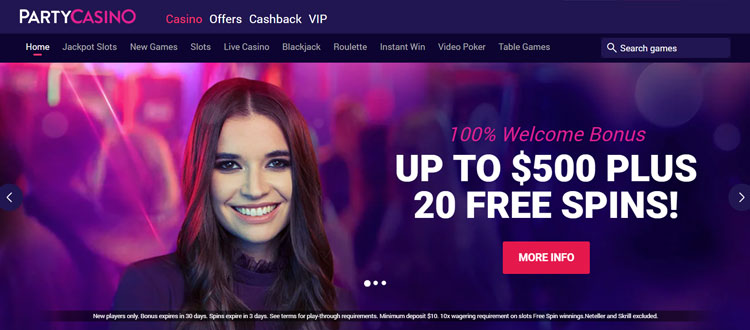 Partycasino Review Up To 750 In Casino Bonuses