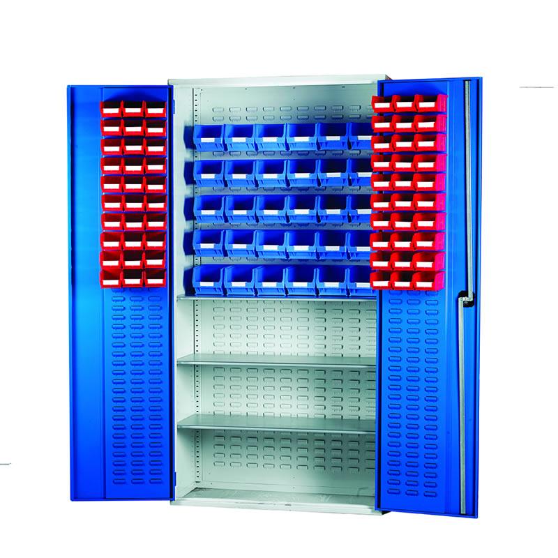 Louvred Panel Cabinets - 3 Shelves, 60 x TC1 and 30 x TC3 Bins