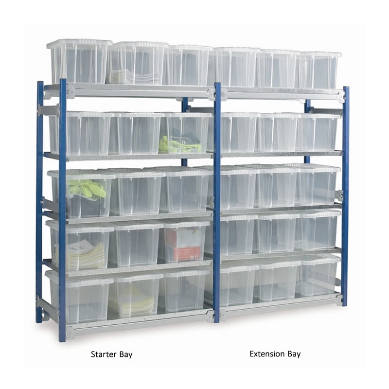 Toprax Boltless Shelving - Single Bays with Plastic Containers