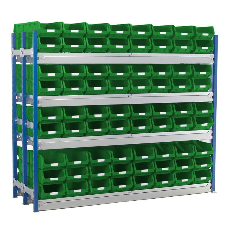 Longspan Shelving Double Bays with TC4 Bins - Steel Shelves