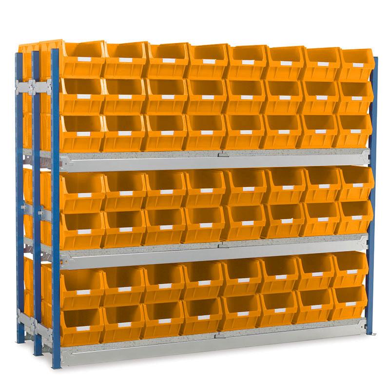 Longspan Shelving Double Bays with TC5 Bins - Steel Shelves