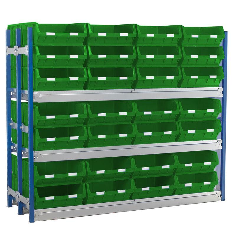 Longspan Shelving Double Bays with TC6 Bins - Steel Shelves
