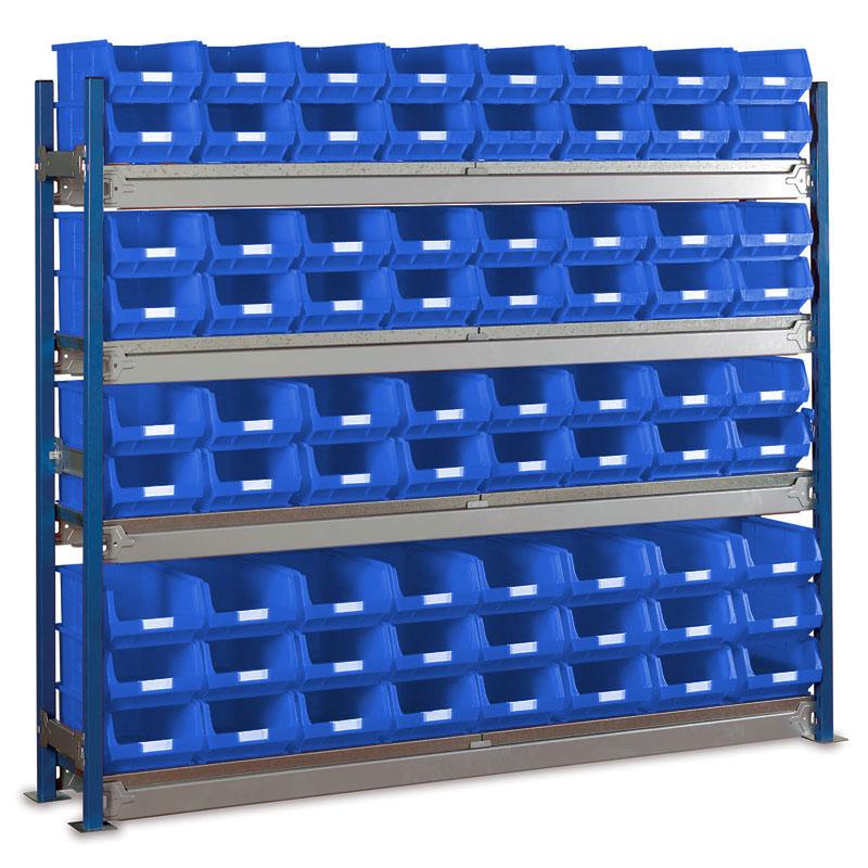 Longspan Shelving Single Bays with TC4 Bins - Steel Shelves