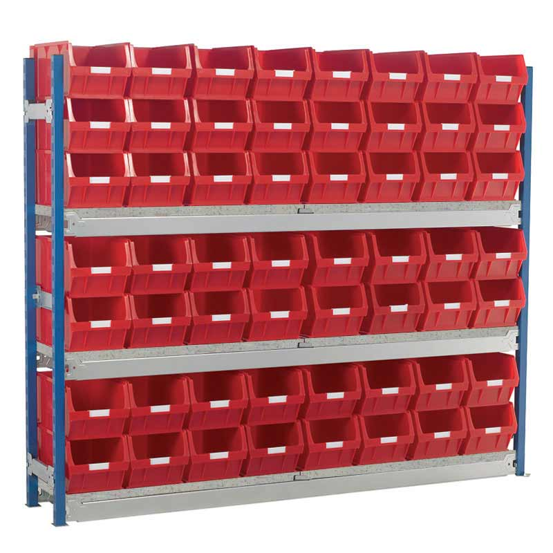 Longspan Shelving Single Bays with TC5 Bins - Steel Shelves