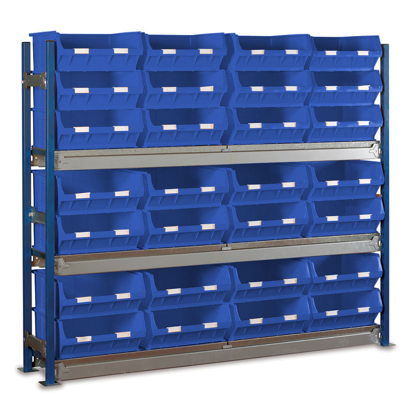 Longspan Shelving Single Bays with TC6 Bins - Steel Shelves