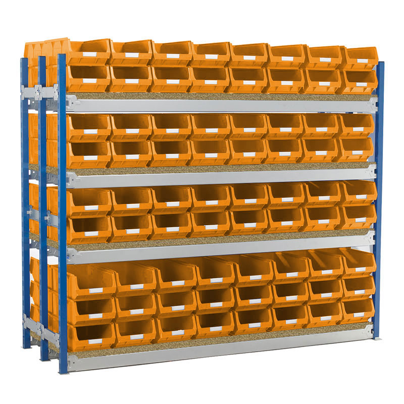 Longspan Shelving Double Bays with TC4 Bins - Chipboard Shelves