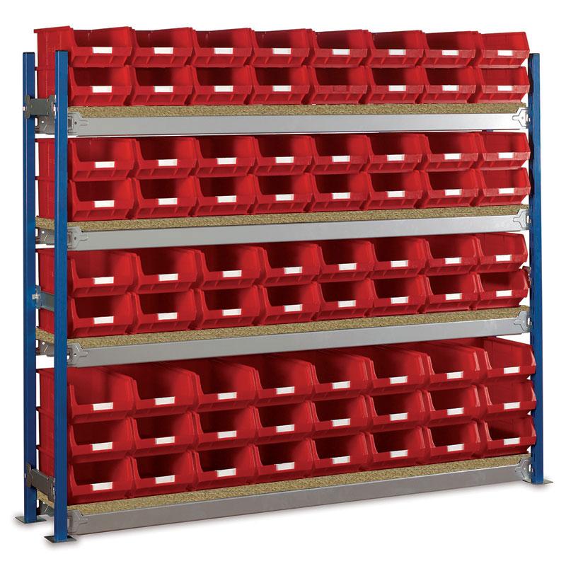 Longspan Shelving Single Bays with TC4 Bins - Chipboard Shelves