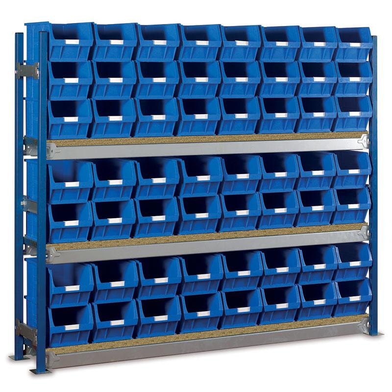 Longspan Shelving Single Bays with TC5 Bins - Chipboard Shelves