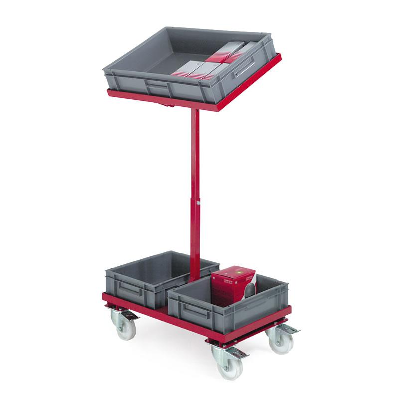 2 Tier Container Trolley - 1 x Tilting Tier