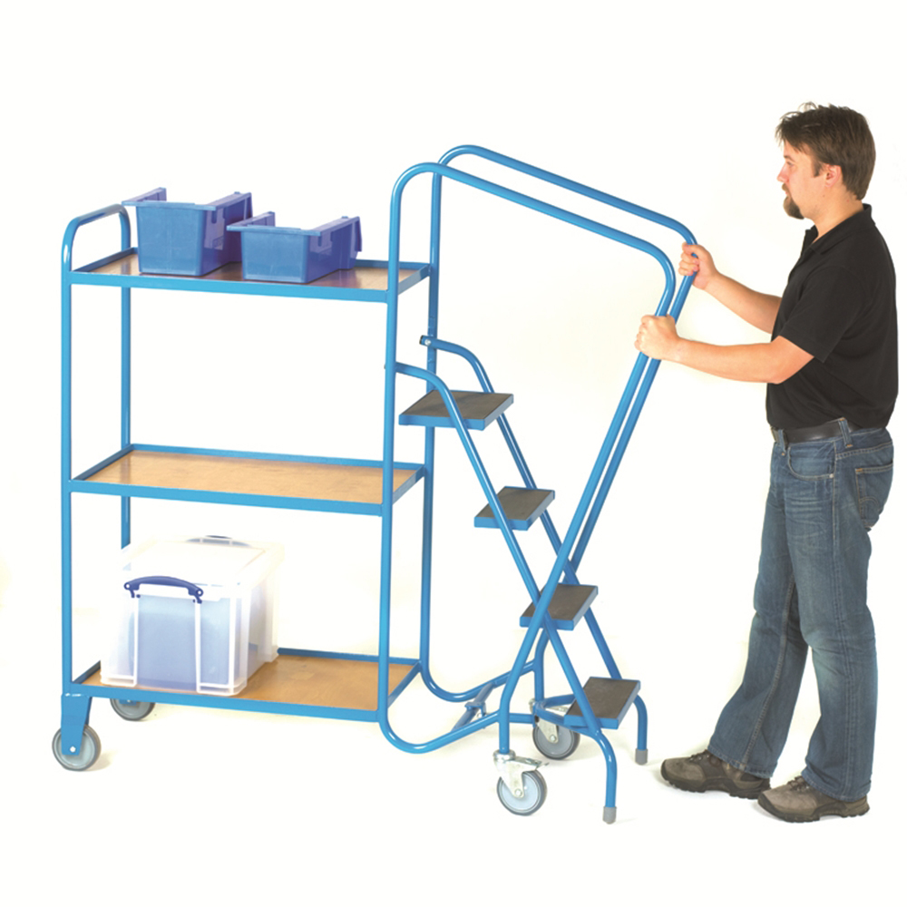 GS ORDER PICKING TROLLEY - 3 Steps, 2 Plywood Trays