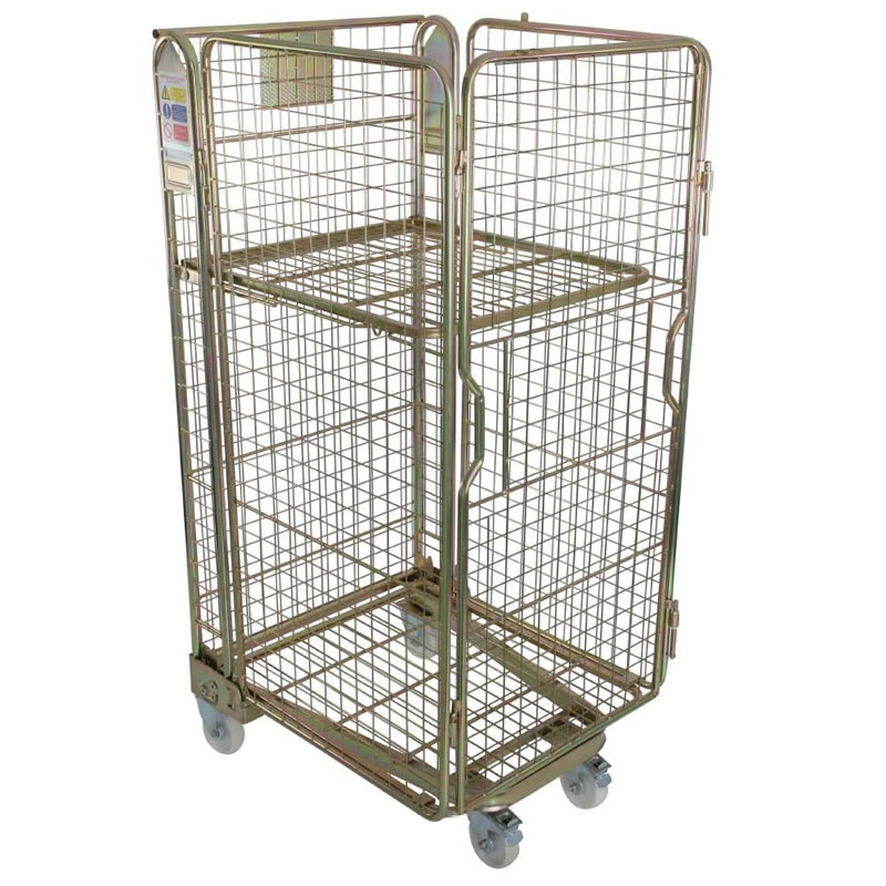 Nestable Roll Container - Mesh Sided - Gold Passivate Finish