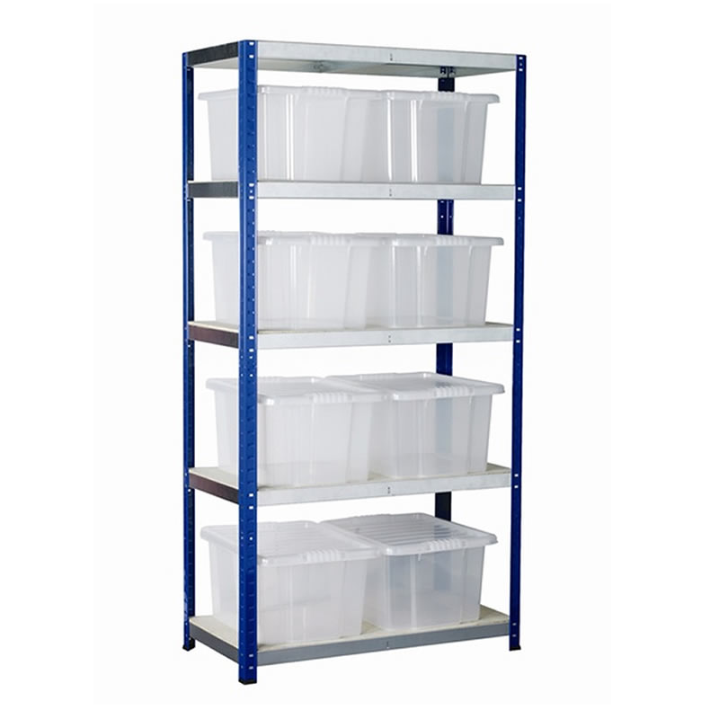 Eco-Rax Boltless Shelving Bay with 8 x Plastic Containers