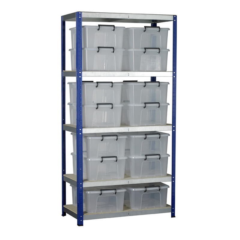Eco-Rax Boltless Shelving with 24 Litre Storemaster Containers