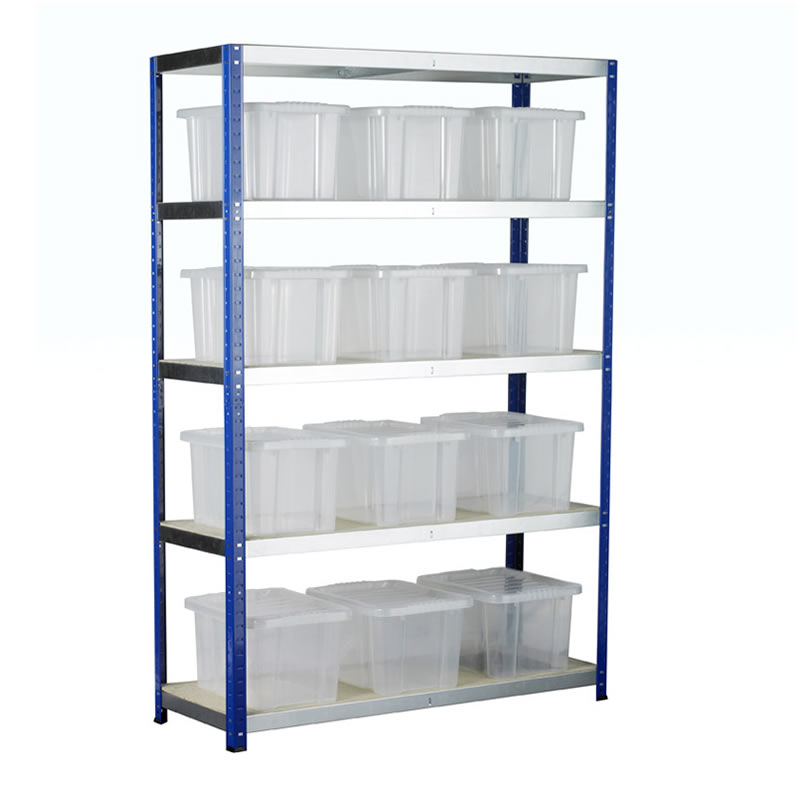 Eco-Rax Boltless Shelving Bay with 12 x Plastic Containers