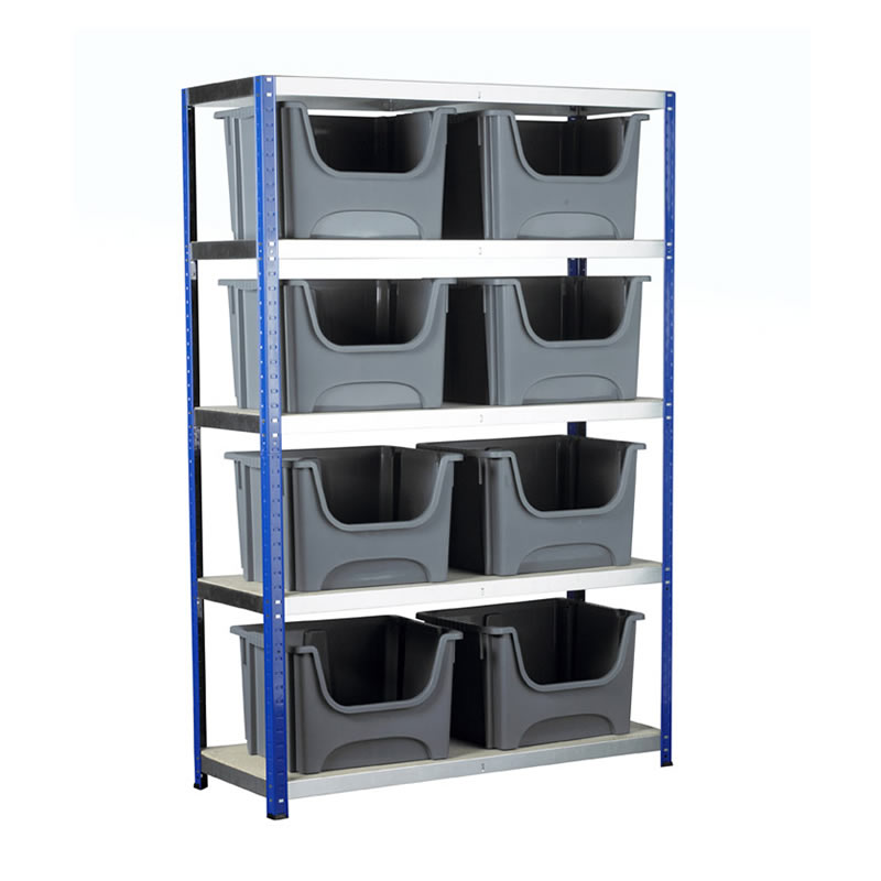 Eco-Rax Boltless Shelving Bay with 8 x Space Bin Containers