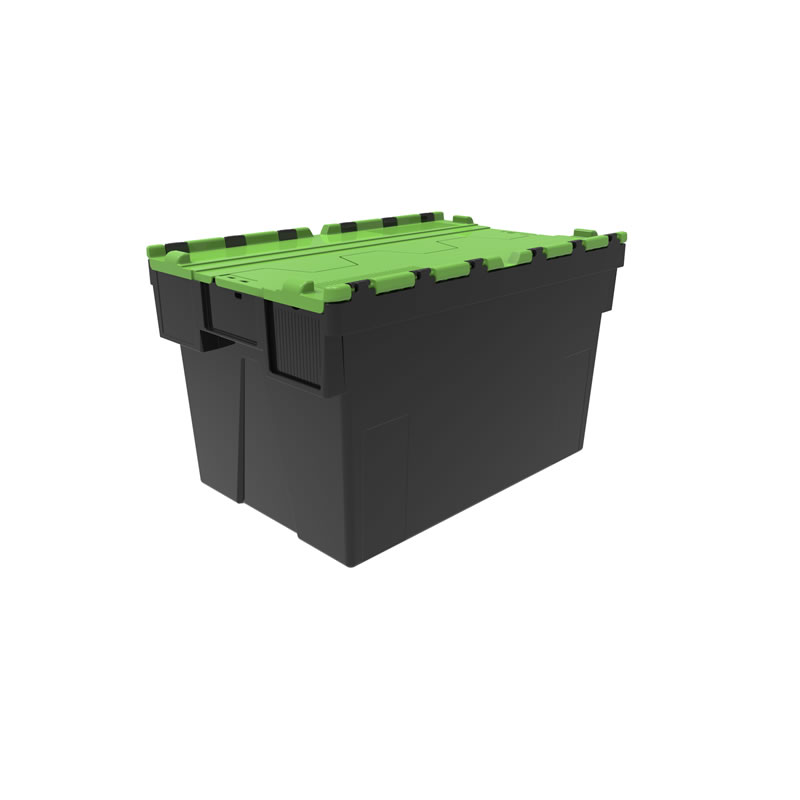 Attached Lid Container - Recycled Base - Virgin Lid -  65 Litre