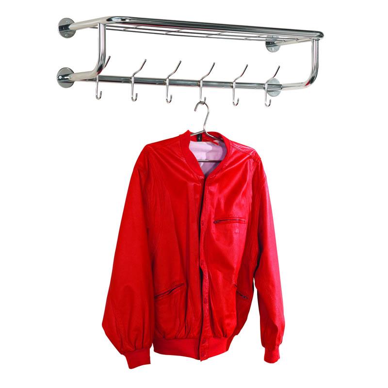 Coat Rack - 6 Coat Hooks and Hat Shelf