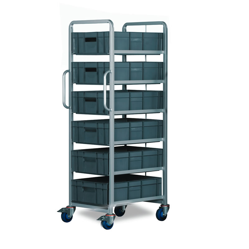 6 Tier Trolley - Braked with 6 x 30 Litre Euro Containers