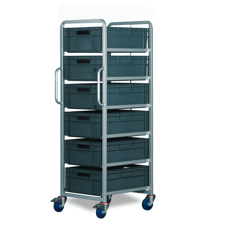 6 Tier Trolley - Braked with 6 x 40 Litre Euro Containers
