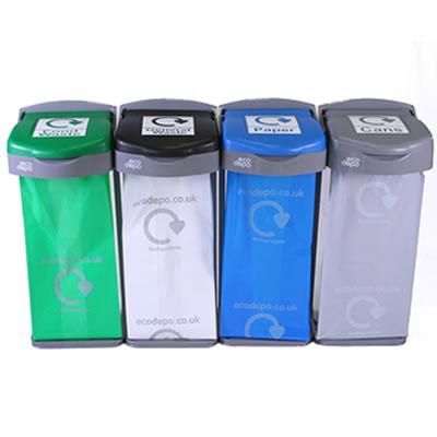 Deluxe Recycling Bins, 4 Bins Kit