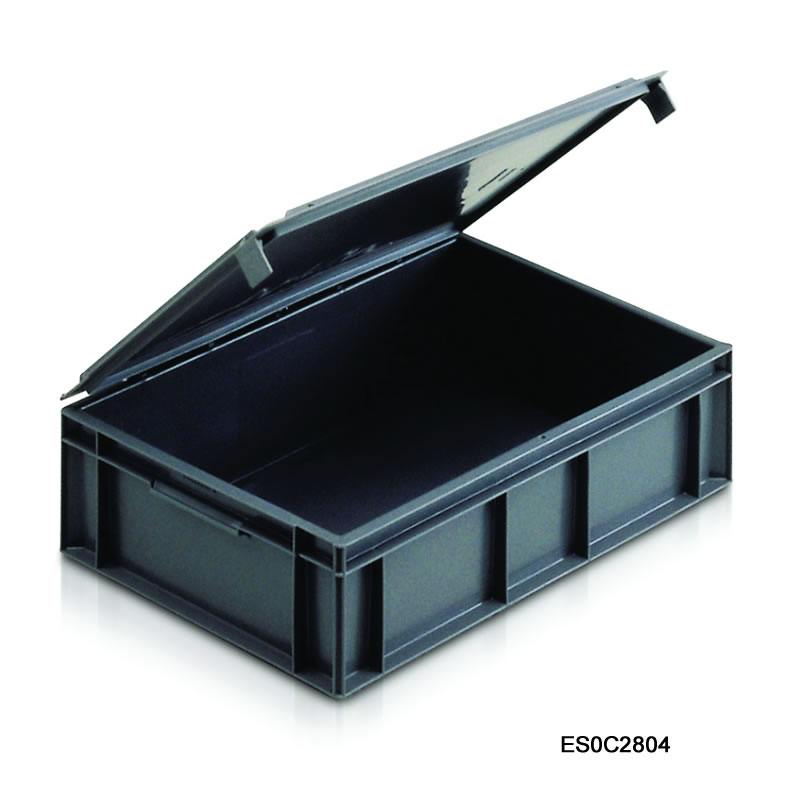 Euro Containers with Integral Lids - 600mm(w) x 400mm(d)