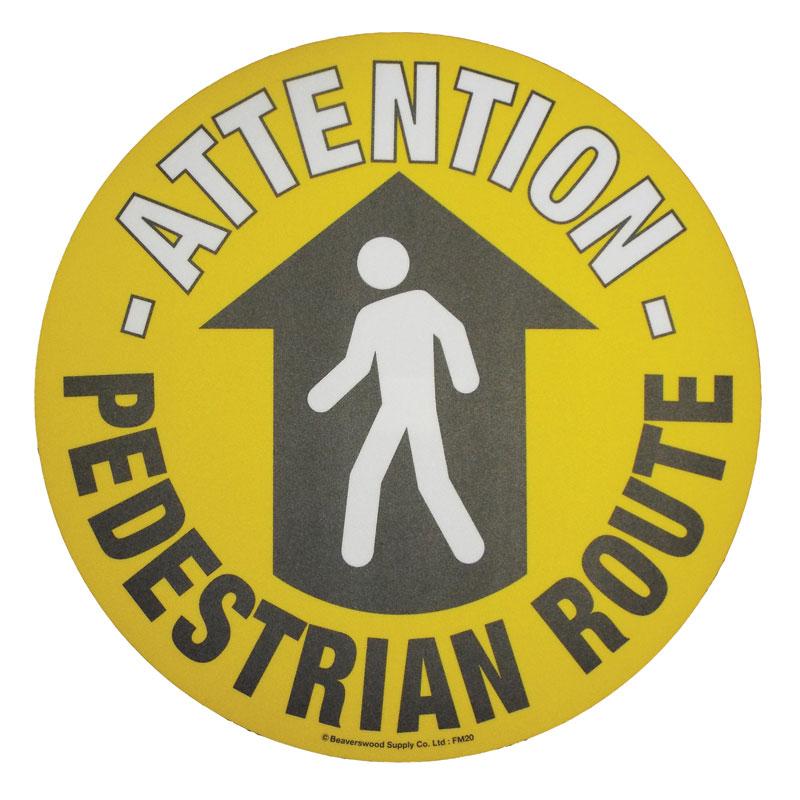 Floor marker sign: Attention Pedestrian Route